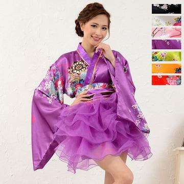 和柄 花魁 ミニ着物ドレス 衣装 コスプレ よさこい ダンス  キャバ チャムドレス