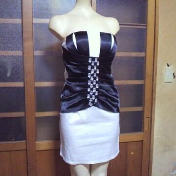 白×黒バイカラー ビジュー ミニドレス・ミニワンピース