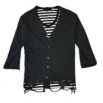 裾クラッシュ7分袖カーデXボーダーTシャツ チャコール M