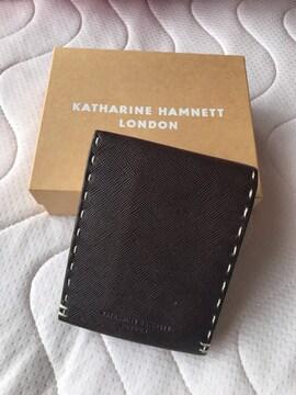 キャサリンハムネットロンドン 二つ折りレザー財布 メンズ 茶色