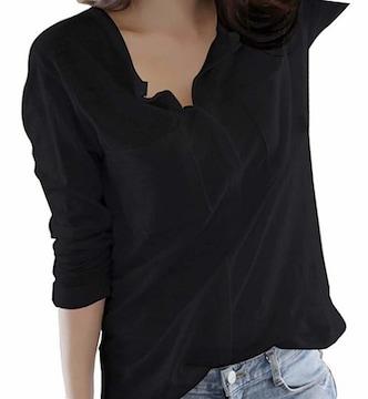 Vネック カットソー スキッパーシャツ (ブラック、Lサイズ)