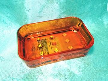 新品 レトロ 石鹸箱 ソープディッシュ クリア オレンジ プラ