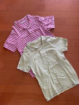 GUジーユー 半袖ボーダーポロシャツ2枚セット USED サイズ150