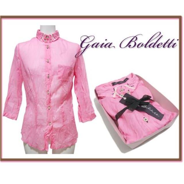 新品Gaia Boldettiイタリア製しわ加工シャツ ネオンピンク#38 < 女性ファッションの