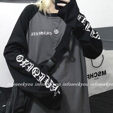 LL大きいサイズ/袖ロゴツートンTシャツ