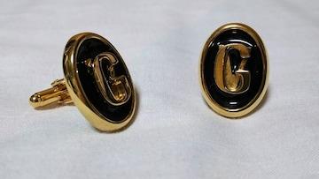 正規レア ヴェルサーチ 立体GVロゴラウンドカフス黒 ゴールド×ブラック ゴシックカフリンクス