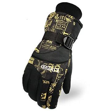 防撥水 防寒 スキー 手袋グローブ ブラック