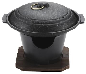 パール金属 陶板焼き 17cm 蓋 コンロ付 セット マーブル