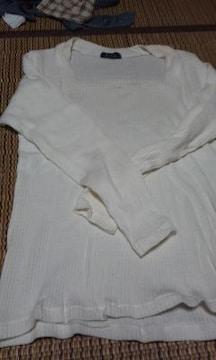 ホワイト 長袖カットソー