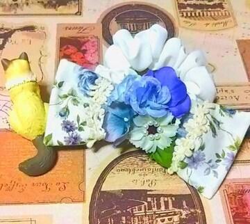 ハンドメイド*・゚青薔薇ブーケリボンシュシュ/BlueFlower