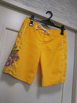 ROXY ★水着ロキシーM 水陸用サーフパンツ ハイビスカス柄黄色