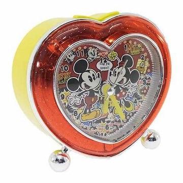 ミッキーマウス&ミニーマウスライト付★ハート型アラーム*クロック/置き時計箱付