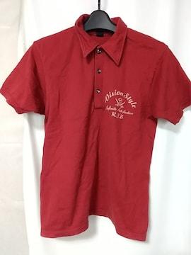 R.J.B THE FLAT HEADロゴプリント半袖ポロシャツサイズ38濃赤アールジェイビー服