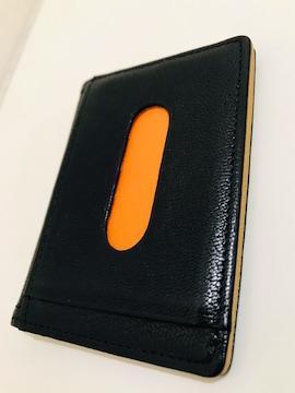 美品 PORTER パスケース 定期入れ カード ブラック×オレンジ