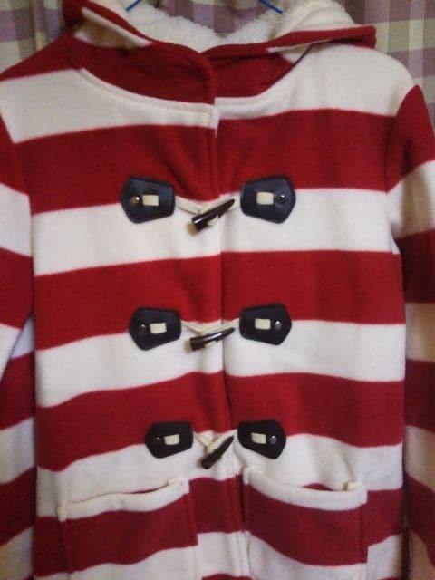 ★MiaulerMewオシャレデザイン ダッフルコート 暖かい 赤/白 ボーダー柄★ < 女性ファッションの