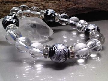銀四神獣オニキス12ミリ水晶10ミリ銀ロンデル数珠