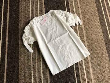 新品☆肩レース刺繍半袖ブラウス☆