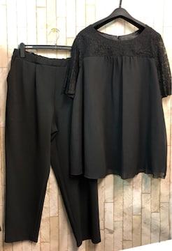 新品☆21号3L4Lドレスパンツ黒セットアップ チュニック☆s864