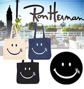 黒 ロンハーマン【新品】スマイル ロゴ入りトートバッグ