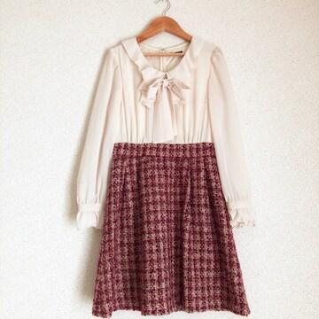 レストローズ ブラウス×ツイードスカート一体型ワンピ L'EST ROSE♪