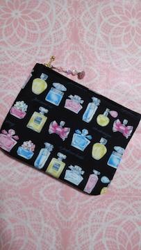 ◆ハンドメイド◆大◆ファスナーポーチ◆香水瓶柄♪送料込み