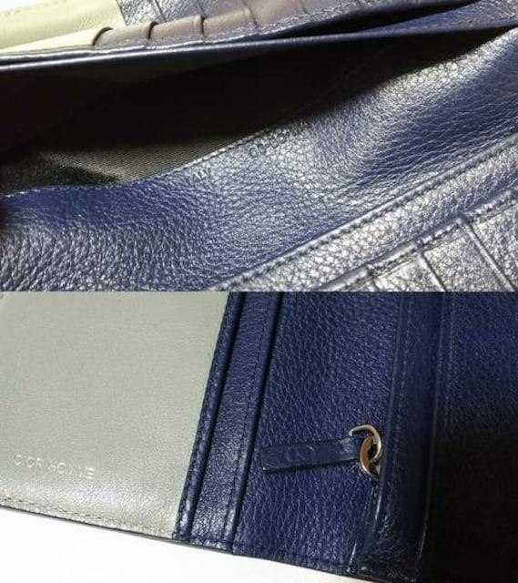 正規 Dior Hommeディオールオム アクセントCDロゴ トリヨンレザー長財布黒系ネイビー < ブランドの