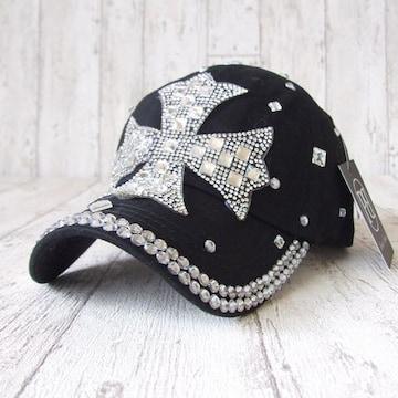 帽子♪ビジュー デコ キャップ クロス ブラック