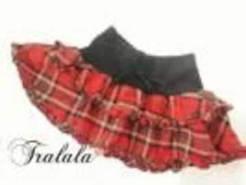 TRALALA(トゥララ)チェックフレアーミニスカート 赤