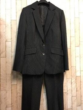新品☆9号♪黒のストライプのロング丈ジャケットパンツスーツ☆j959