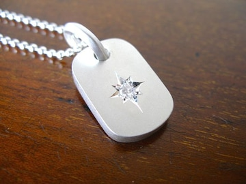 仁尾彫金『一つ星ダイヤプレート3.0mm』ハンドメイドb