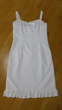 鈴丹(SUZUTAN)リボン付きフリルワンピース 白 M