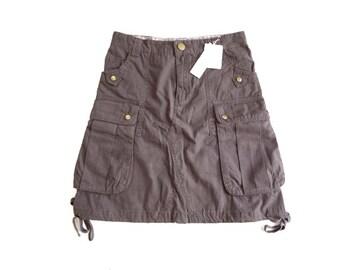 新品 espiritu 膝丈 カーゴ スカート S 61-89 ポケット付き 綿