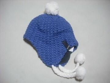 08 女 RIP CURL リップカール 耳当て ボンボン付き ニット帽 青