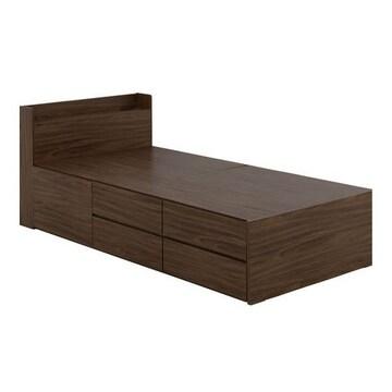 収納付きベッド(収納3分割)ブラウン VICE100S_BR