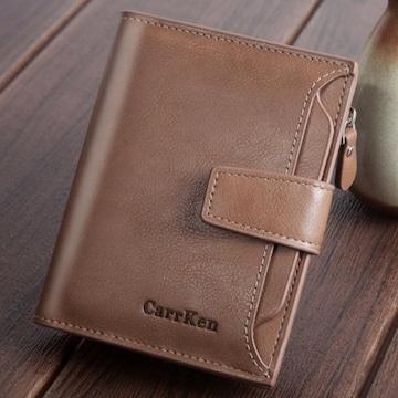 二つ折り財布 大容量 カード14枚 パスケース 茶色