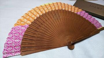正規 ロエベ アマソナ アナグラム ロゴ扇子 茶×桃×暖色 マルチカラー ウッド アバニコ