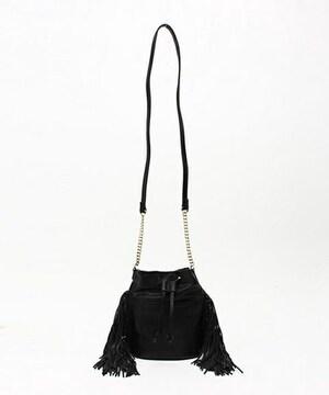 新品タグ付VISビスフリンジショルダーバッグ黒ブラックカバン鞄フェイクレザー