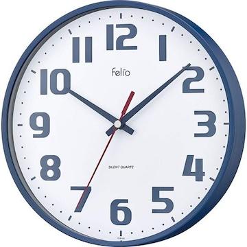 掛け時計 非電波 アナログ チュロス 直径22.5cm ネイビーブルー