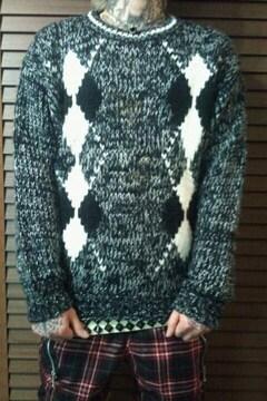 即決DEADアーガイルセーター!ゴシックパンクロカビリーバイカーモッズテッズスクールスタイル