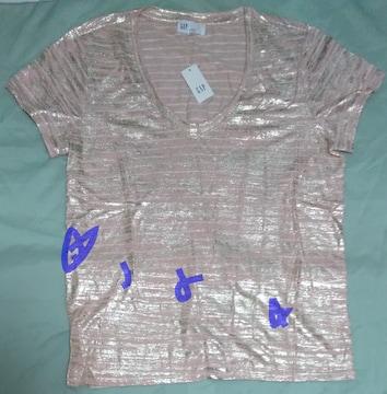 Gap ストライプリネン スクープネックTシャツ ピンク 新品