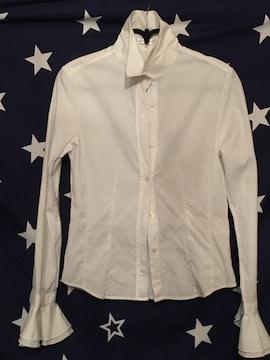 ホワイト ブラウス 袖フリフリ シャツ
