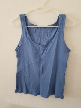 青無地袖なしシャツA160
