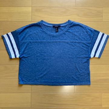 美品 Forever21 ショート丈 ライン Tシャツ トップス ブルー