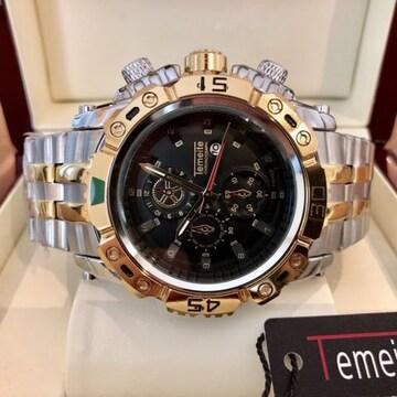 大特価!ビッグフェイスでラグジュアリーなメンズ腕時計★ブラック×コンビ