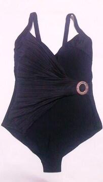 インポート〓新品〓ラインストーンバックルベルト&プリーツドレープ肩紐ワンピース水着〓黒