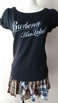 ★美品★バーバリー★Tシャツ★黒★38★正規品★ブルーレーベル★ロゴ
