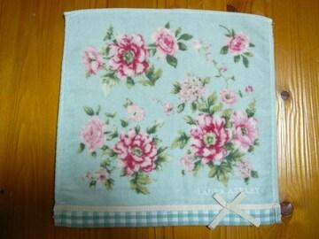 ローラアシュレィリボンお花柄ロゴ刺繍タオルハンカチ