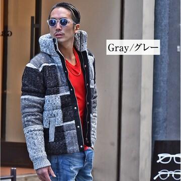 パッチワークデザイン中綿ジャケット新品グレーL