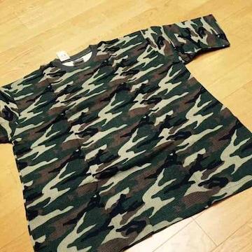 MUJI-ARMY迷彩柄TシャツサイズXXL→3XL位�Iウッドカモワッフル地