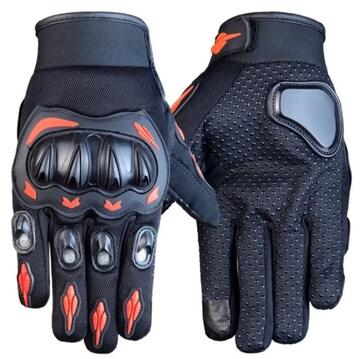 M バイク グローブ 手袋 プロテクター オートバイ オレンジ